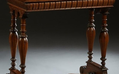 French Henri II Style Carved Walnut Marble Top Console