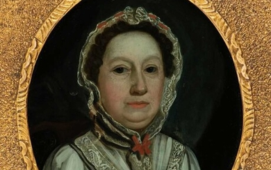 Glass Paintings, 18th Century, Glass Painting of a Lady, and four hand-coloured mezzotints
