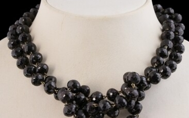 Heavy faceted garnet bead necklace, 11 mm beads, completed by...