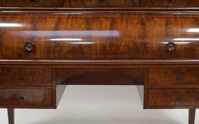 Important OFFICE cylinder in flamed mahogany veneer, the cylinder uncovering...