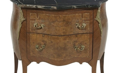 Louis XV-Style Mixed Wood and Marble-Top Commode