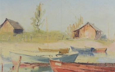 """Monogrammed artist (20th century) """"Modern View of Lake Constance"""", monogrammed lower left """"JP"""" and"""