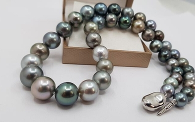 No reserve - 8.5x12mm Multi Coloured Tahitian pearls - Necklace