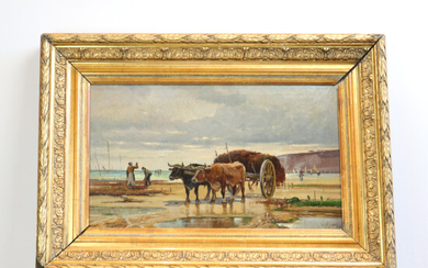 PAINTING BY H. GOMEZ - OX CARRIAGE ON THE BEACH.