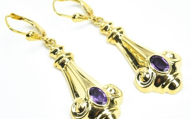 Pair Estate 14kt Gold & Amethyst Earrings