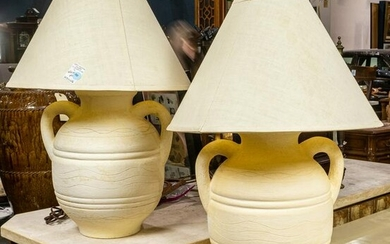 Pair of Southwestern inspired ceramic table lamps, of