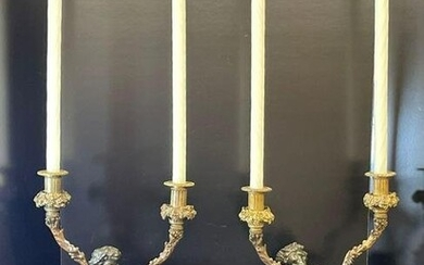 Pr. French Patinated and Gilt Bronze Candelabra