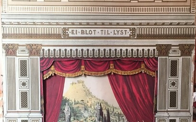"""Puppet theatre with figures and senery for the comedy """"Der var en gang"""". – Bruun..."""