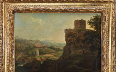 Roman school, late 18th - early 19th century River landscape with figures Oil on canvas, 39.5x51 cm. On the back…Read more