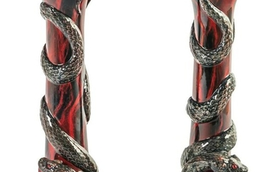 Royal Doulton Archives Red Snake Candlesticks Pair