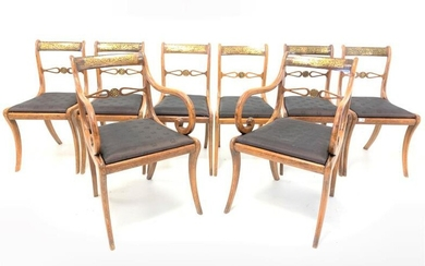 Set eight Regency rosewood dining chairs, shaped crest rail...
