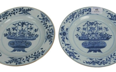 Set of Eight Blue and White Plates having painted