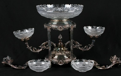 Silver Plate & Cut Glass Epergne