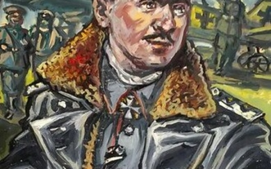 Social realism oil painting Portrait of an officer