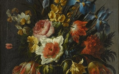 Still life of flowers, including tulips, iris and narcissi, in a glass vase, Juan de Arellano
