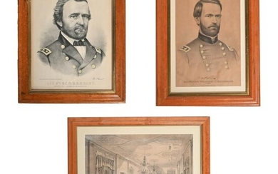 Three Framed Civil War Period Lithographs Including