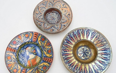 Four Polychrome Pottery Dishes, to include italian