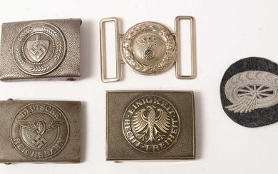 Three WWII and later German belt buckles