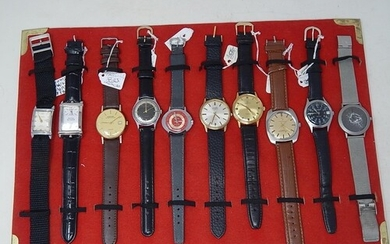 Tray Containing an Assortment of 10 Gentleman's Wristwatches...