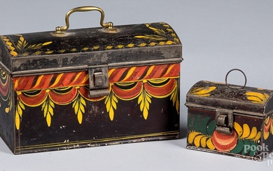 Two Pennsylvania toleware dome lid boxes, 19th c.