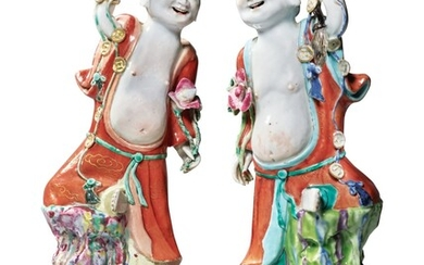 Two Rare Chinese Export Famille-rose Figures of Liuhai, Qing Dynasty, Qianlong Period   清乾隆 粉彩劉海立像兩件
