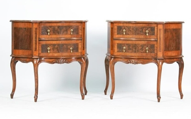 VINTAGE FRENCH-STYLE ITALIAN BURL FRONT CHESTS
