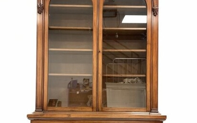 Victorian style mahogany bookcase, projecting cornice over leaf and...