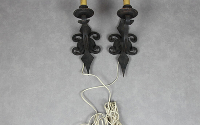 WALL LAMPS, 2 pcs, wrought iron, 20th century.