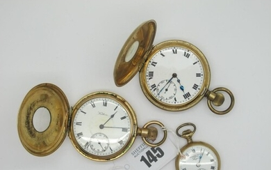 Waltham; A Gold Plated Cased Half Hunter Pocketwatch, the si...