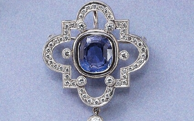 14 kt gold pendant/brooch with sapphire and diamonds...