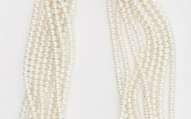 14KT GOLD, CULTURED PEARL, DIAMOND AND ONYX NECKLACE