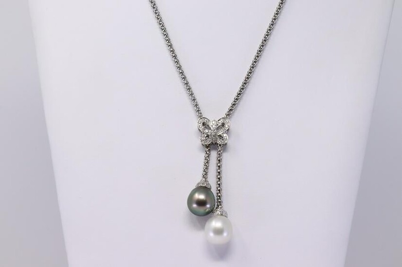 18KT South Sea/Black Tahitian Pearl Necklace w/