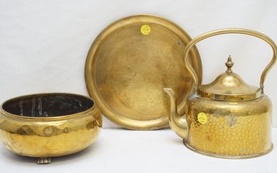 3 PC BRASS GROUPING KETTLE - TRAY - POT