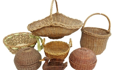 (9) COLLECTION OF WICKER HANDLED & OTHER BASKETS