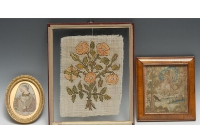 A 17th century needlework picture, depicting David playing t...