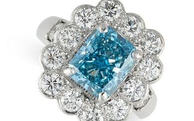 A FANCY VIVID BLUE DIAMOND AND WHITE DIAMOND RING in