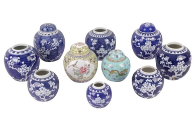 A PAIR OF CHINESE BLUE AND WHITE PORCELAIN GINGER JARS, LATE 20TH CENTURY