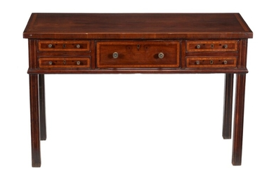 A Regency mahogany, crossbanded, and line inlaid hall or side table