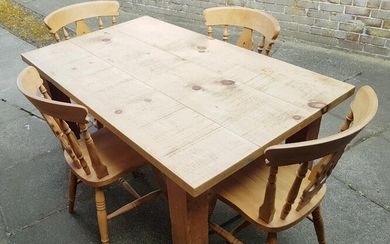 A Solid 3-Plank Pine Farmhouse Kitchen Table with Four...