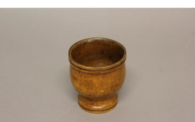 A TURNED BOXWOOD SPICE BOWL. A late 18th or early 19th centu...