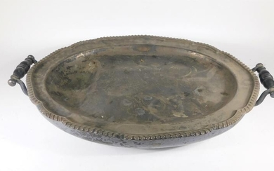 A Victorian oval silver plated hot water meat dish,...