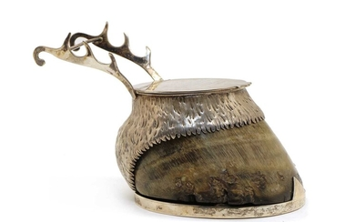 A Victorian silver mounted horse's hoof trophy desk stand