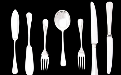 A collection of silver Hanoverian rat tail pattern flatware