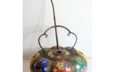 A large Chinese ceramic and metal mounted melon-shaped pot a...