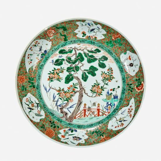 A large Chinese famille verte-decorated dish