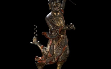 """A large Chinese gilt and lacquered bronze figure of """"Kui Xing"""" 铜鎏金魁星 19th century or earlier 十九世纪或更早"""