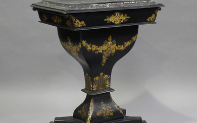 A mid-Victorian papier-mâché work table, the hinged top inlaid in mother-of-pearl, the bas