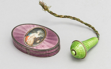 A silver and guilloche enamel pill box and finial. Box, maker's mark of Meyle and Mayer, Germany early 20th century.