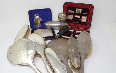 A silver backed Dressing Table Set, cased Manicure Set, engr...