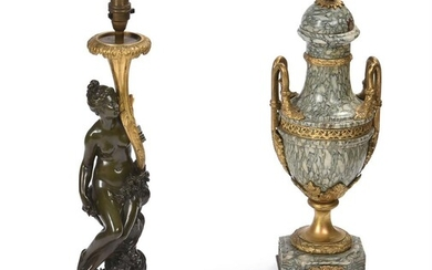 AFTER CORNELIUS VON CLEVE, A BRONZE AND ORMOLU FIGURAL TABLE LAMP, SECOND HALF 19TH CENTURY